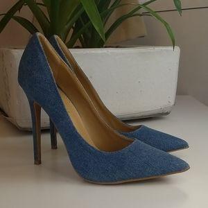 Denim Stiletto High Heel Shoes